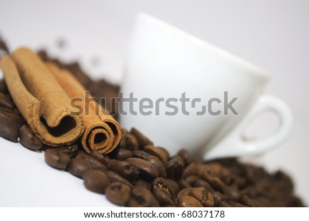 Coffee grains with cinnamon