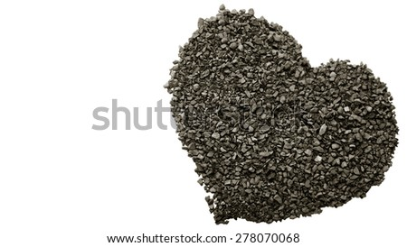 Coffee granules love heart on a white background