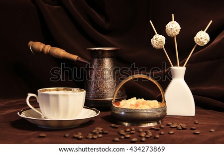 Brown background still-life tableware & Coffee Grinder Cup On Table Brown Stock Photo (Royalty Free ...