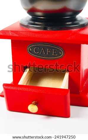 coffee grinder on the white