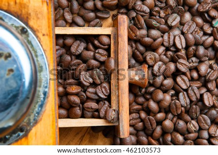 Coffee grinder on wooden background.
