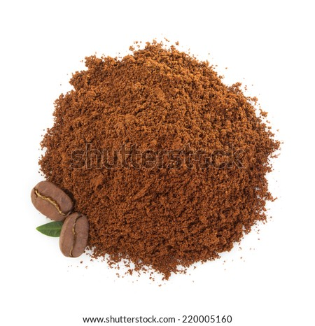 coffee grounds isolated on white background