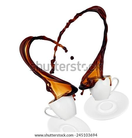 Coffee heart splash - stock photo