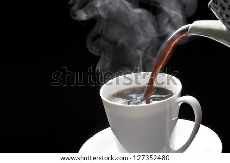 Coffee, hot coffee, pour - stock photo