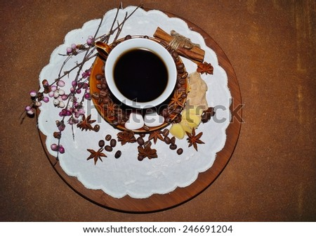 Coffee - I love coffee - Black coffee in a cup, coffee beans and spices - stock photo