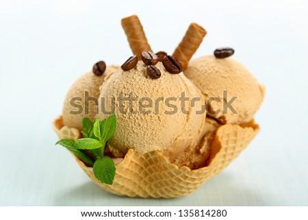 coffee ice cream in waffle cup - stock photo