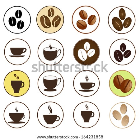 coffee icons over white background