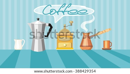 Coffee illustration with coffee pot, coffee cup, coffee mill and coffee maker - stock photo