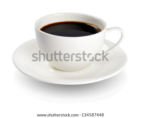 Coffee in a cup isolated on white background. Clipping Path included. - stock photo