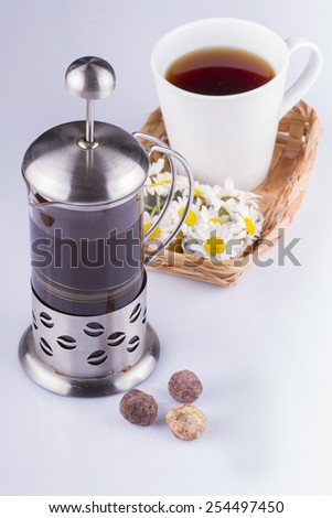 Coffee in a French Press On White Background - stock photo