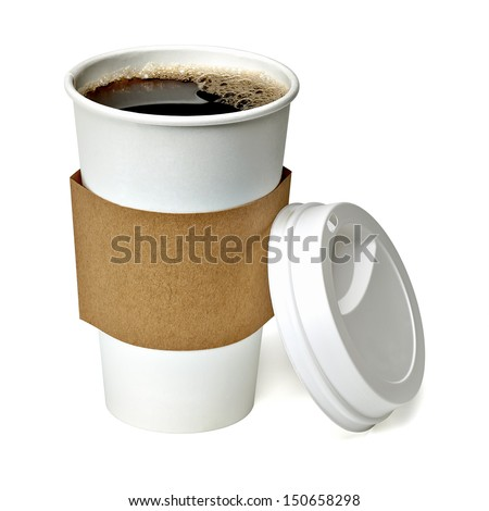 Coffee in blank craft take away cup isolated on white background including clipping path - stock photo