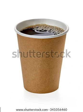 Coffee in blank craft takeaway cup isolated on white background   - stock photo