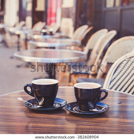 coffee in cozy street cafe in Europe - stock photo