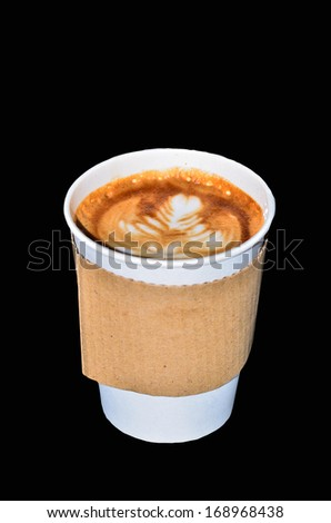 Coffee in takeaway cup on black background - stock photo