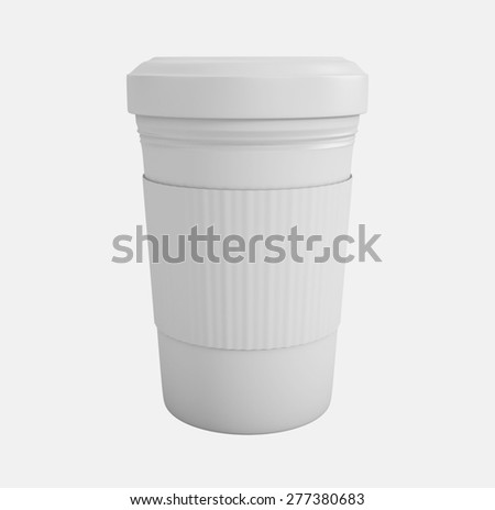 Coffee in takeaway cup over white background. 3d illustration