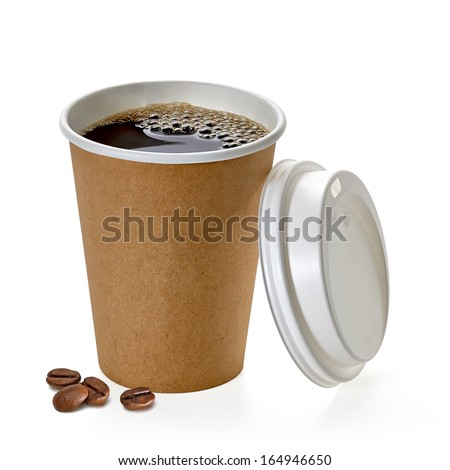 Coffee in takeaway cup with beans on white background - stock photo