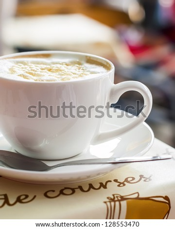 Coffee in the White Cup on Saucer close up - stock photo