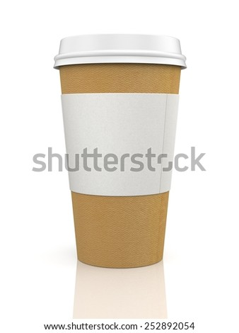 Coffee in thermo cap. Take-out coffee - stock photo