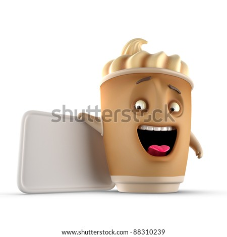 coffee, isolated,banner, icon, character, smile, chocolate, drink - stock photo