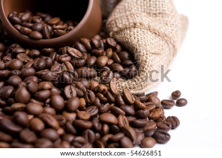 coffee isolated on white close up look - stock photo