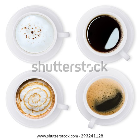 coffee isolated white collection set with clipping path