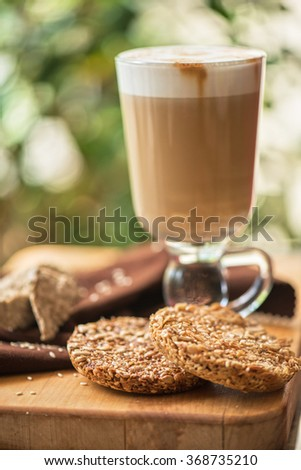 coffee latte cup with cookies closeup - stock photo