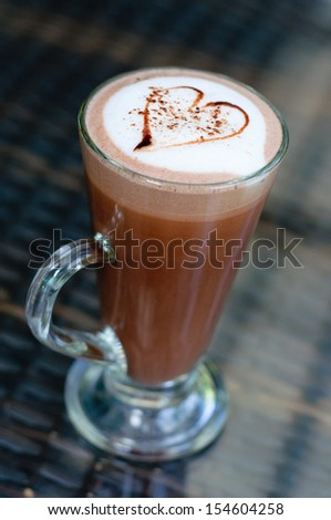 coffee latte heart - stock photo