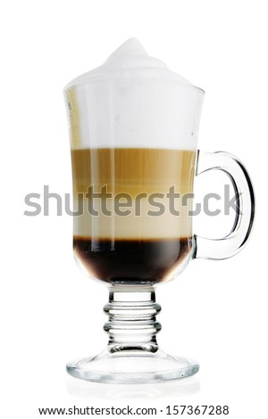 Coffee latte in glass cup isolated on white - stock photo
