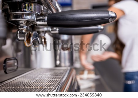 Coffee machine in the coffee shop. Close up shot. - stock photo