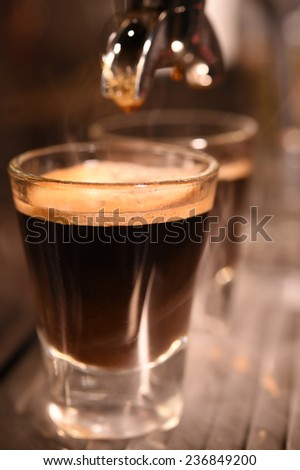 coffee machine preparing cup of coffee.  - stock photo
