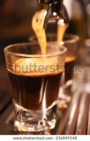 coffee machine preparing cup of coffee  - stock photo