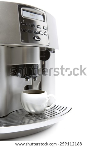 coffee maker and cup - stock photo