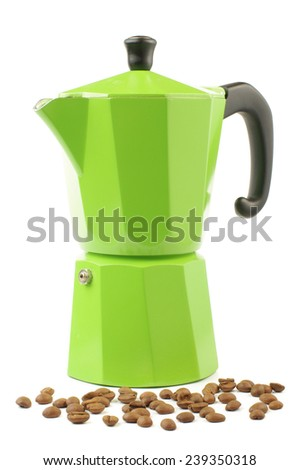 Coffee maker and roasted coffee beans - stock photo