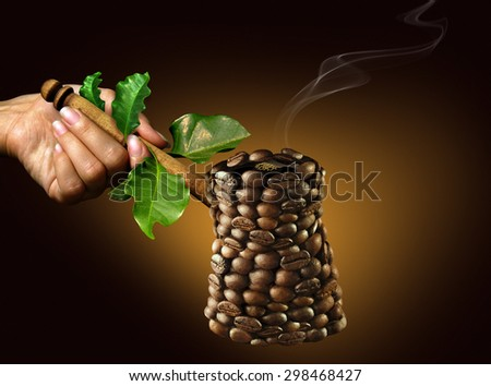 coffee maker. coffee maker consists of coffee beans in eco style on a golden-dark background