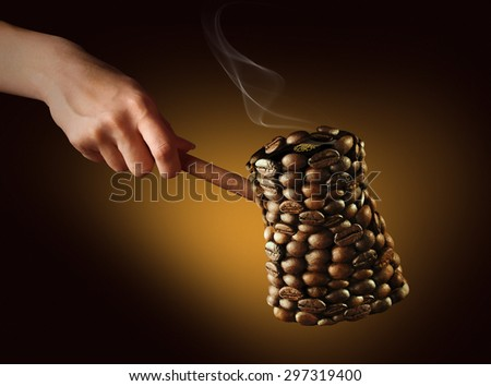 coffee maker. coffee maker consists of coffee beans on a golden-dark background