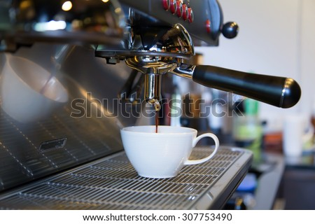 Coffee maker in shop - stock photo