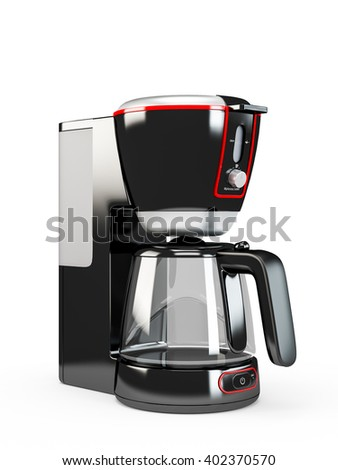 Coffee maker machine isolated on white background. 3D Rendering, 3D Illustration.