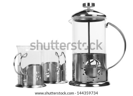 Coffee maker with coffee cups - stock photo