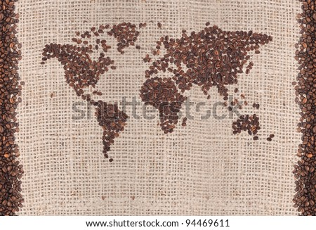 Coffee map made of beans on white background - stock photo