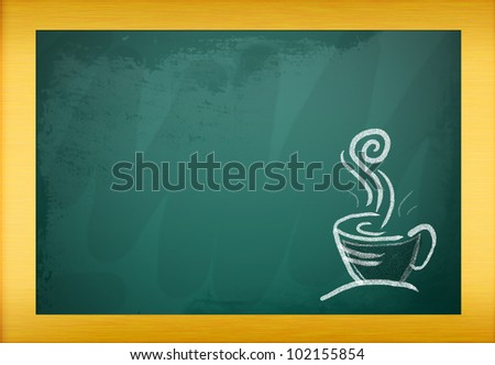 Coffee may use the blackboard in the background. - stock photo