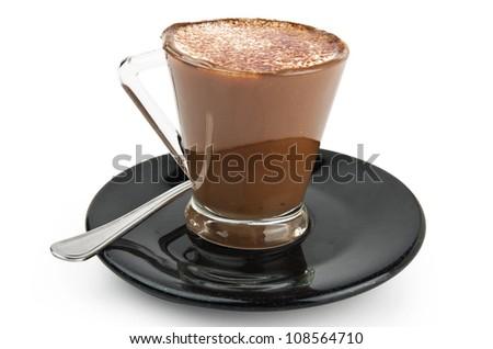 Coffee milk cream and chocolate on the black plate - stock photo