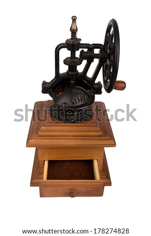 Coffee mill, isolated on white coffee grinding machine - stock photo