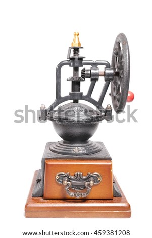 coffee mill or coffee grinder isolated on white background. Vintage coffee grinder