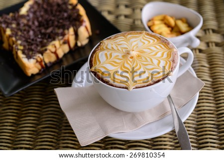 Coffee Mocha hot with delicious assorted accessories. - stock photo
