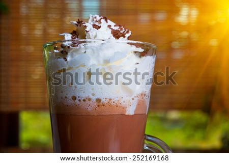 Coffee mocha with whipped cream and chocolate - stock photo