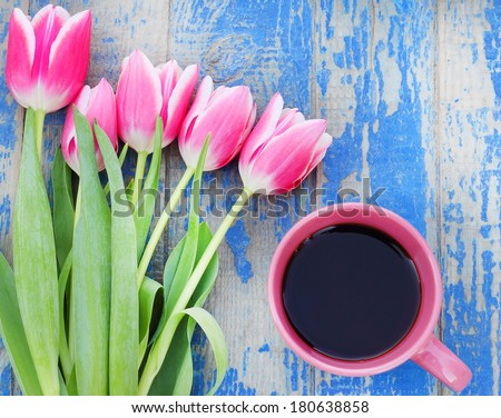 coffee mug flowers tulips - stock photo