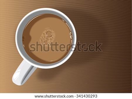 Coffee mug on brown table