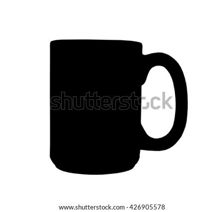 Coffee mug silhouette isolated over a white background with clipping path at original size - stock photo