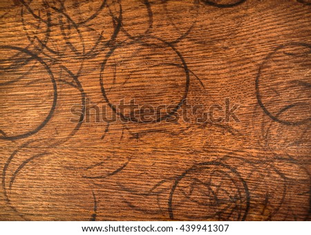 Coffee mug stains on a wooden surface.