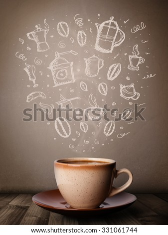 Coffee mug with hand drawn kitchen accessories, close up - stock photo